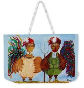 American Gothic Down On The Farm - A Parody Weekender Tote Bag