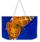 American Lady Butterfly Blue Square Weekender Tote Bag
