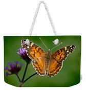 American Lady Butterfly With Green Background Weekender Tote Bag