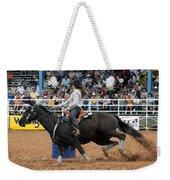 American Rodeo Female Barrel Racer Dark Horse I Weekender Tote Bag by Sally Rockefeller