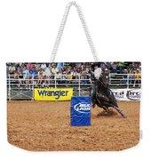 American Rodeo Female Barrel Racer White Star Horse I Weekender Tote Bag by Sally Rockefeller
