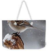 American Tree Sparrow In Snow Weekender Tote Bag