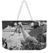American White Ibis Black And White Weekender Tote Bag
