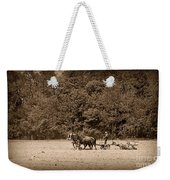 Amish Farmer Tilling The Fields In Black And White Weekender Tote Bag