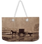 Amish Horse And Buggy With Wagon Bw Weekender Tote Bag