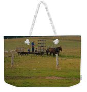 Amish Man And Two Sons On The Farm Weekender Tote Bag