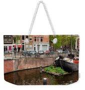 Amstel River Waterfront In Amsterdam Weekender Tote Bag