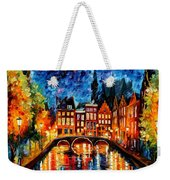 Amsterdam-canal - Palette Knife Oil Painting On Canvas By Leonid Afremov Weekender Tote Bag