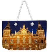 Amsterdam Central Train Station At Night Weekender Tote Bag