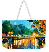 Amsterdam-early Morning - Palette Knife Oil Painting On Canvas By Leonid Afremov Weekender Tote Bag