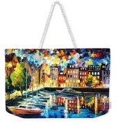 Amsterdam's Harbor - Palette Knife Oil Painting On Canvas By Leonid Afremov Weekender Tote Bag