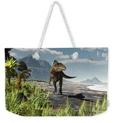 An Acrocanthosaurus Roams An Early Weekender Tote Bag by Arthur Dorety