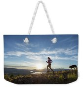 An Adult Woman With A Dog Running Weekender Tote Bag
