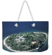 An Aerial View Of Two Kayakers Paddling Weekender Tote Bag