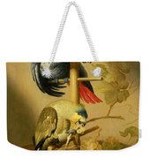An African Grey And An Orange Winged Amazon Parrot On  A Perch With Grapes Weekender Tote Bag