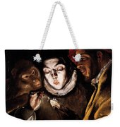 An Allegory With A Boy Lighting A Candle In The Company Of An Ape And A Fool Weekender Tote Bag