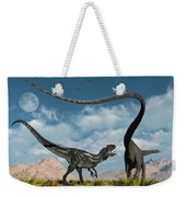 An Allosaurus In A Deadly Battle Weekender Tote Bag