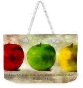 An Apple A Day With Proverbs Weekender Tote Bag