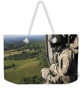 An Army Crew Chief Looks Out The Door Weekender Tote Bag