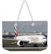 An Emirates Boeing 777 At Milano Weekender Tote Bag