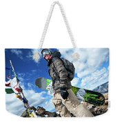 An Extreme Snowboarder Stands Weekender Tote Bag