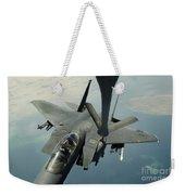 An F-15e Strike Eagle Receives Fuel Weekender Tote Bag