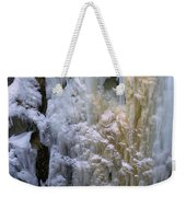 An Ice Climber Ascends A Frozen Weekender Tote Bag
