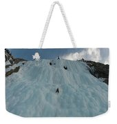 An Ice Climber In The Middle Weekender Tote Bag