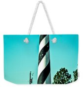 An Image Of Lighthouse In Small Town Weekender Tote Bag