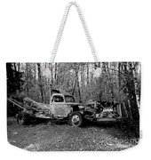 An Old Logging Boom Truck In Black And White Weekender Tote Bag