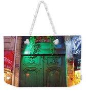 An Old Ornate Wooden Door In Paris France Weekender Tote Bag