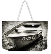 An Old Row Boat In Black And White Weekender Tote Bag