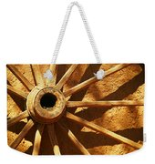An Old Wagon Wheel In Carillos New Mexico Weekender Tote Bag