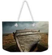 An Old Wreck On The Field. Dramatic Sky In The Background Weekender Tote Bag