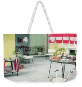 An Outside Area Set Up For A Party Weekender Tote Bag