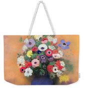 Anemones And Lilac In A Blue Vase Weekender Tote Bag
