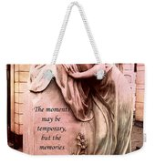 Angel Art - Memorial Angel Weeping Sorrow At Grave With Inspirational Message - Memories Are Forever Weekender Tote Bag