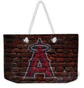 Angels Baseball Graffiti On Brick  Weekender Tote Bag by Movie Poster Prints