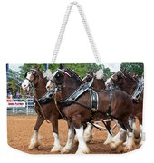 Anheuser Busch Budweiser Clydesdale Horses In Harness Usa Rodeo Weekender Tote Bag