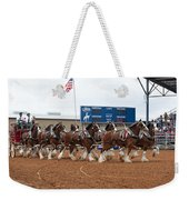 Anheuser Busch Clydesdales Pulling A Beer Wagon Usa Rodeo Weekender Tote Bag
