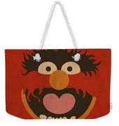 Animal Muppet Vintage Minimalistic Illustration On Worn Distressed Canvas Series No 008 Weekender Tote Bag