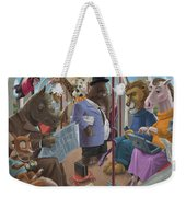 Animals On A Tube Train Subway Commute To Work Weekender Tote Bag