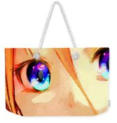 Anime Girl Eyes Gold Weekender Tote Bag