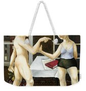 Annunciation Interior With Table Weekender Tote Bag by Caroline Jennings