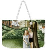 Annunciation With Burning Building Weekender Tote Bag by Caroline Jennings