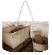 Antiquated Bathtub Washboard And Laundry Tub In Sepia Weekender Tote Bag