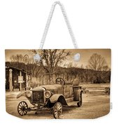 Antique Car At Service Station In Sepia Weekender Tote Bag