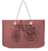 Antique Fire Engine Patent On Red Weekender Tote Bag