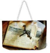 Antique Keys On Newspaper Weekender Tote Bag