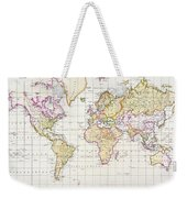Antique Map Of The World Weekender Tote Bag by James The Elder Wyld